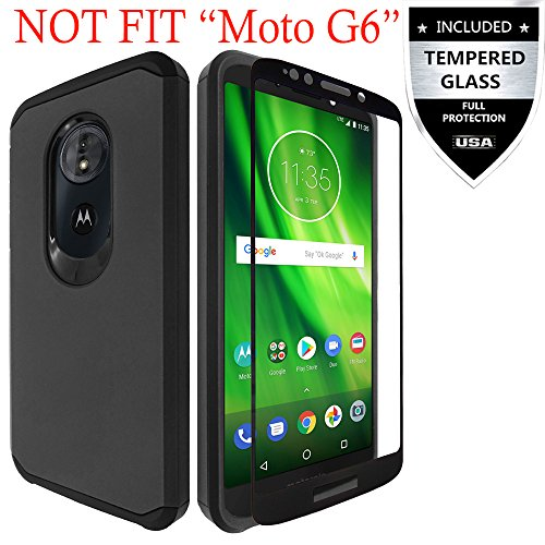 Moto G6 Play Case, Moto E5 Case, Moto G6 Forge Case with Tempered Glass Screen Protector,IDEA LINE Heavy Duty Protection Hybrid Hard Shockproof Slim Fit Cover for Moto G Play 6th Gen - Black