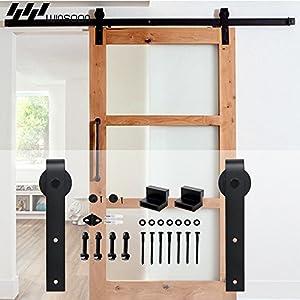 winsoon single sliding barn wood door hardware cabinet closet kit antique style. Black Bedroom Furniture Sets. Home Design Ideas