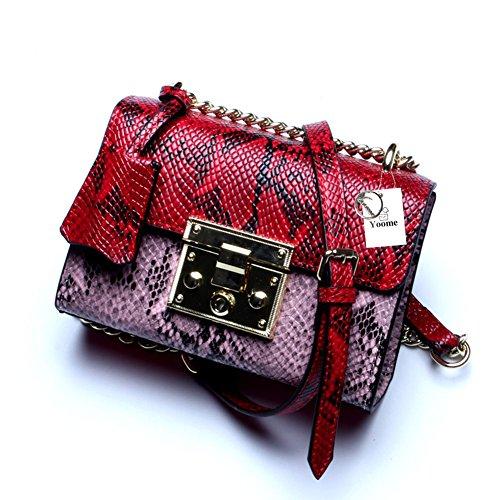 Hombro Solo Bolso Yoome Messager Mujeres Moda Rojo La Para Del De Crossbody Serpiente Rosa Diseñador Las Patrón Bolsas gg7wO