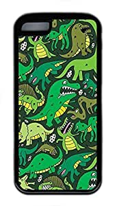 Custom Soft Black TPU Protective Case Cover for iPhone 5C,Green Dinosaur Pattern Case Shell for iPhone 5C,Green Case for iPhone 5C