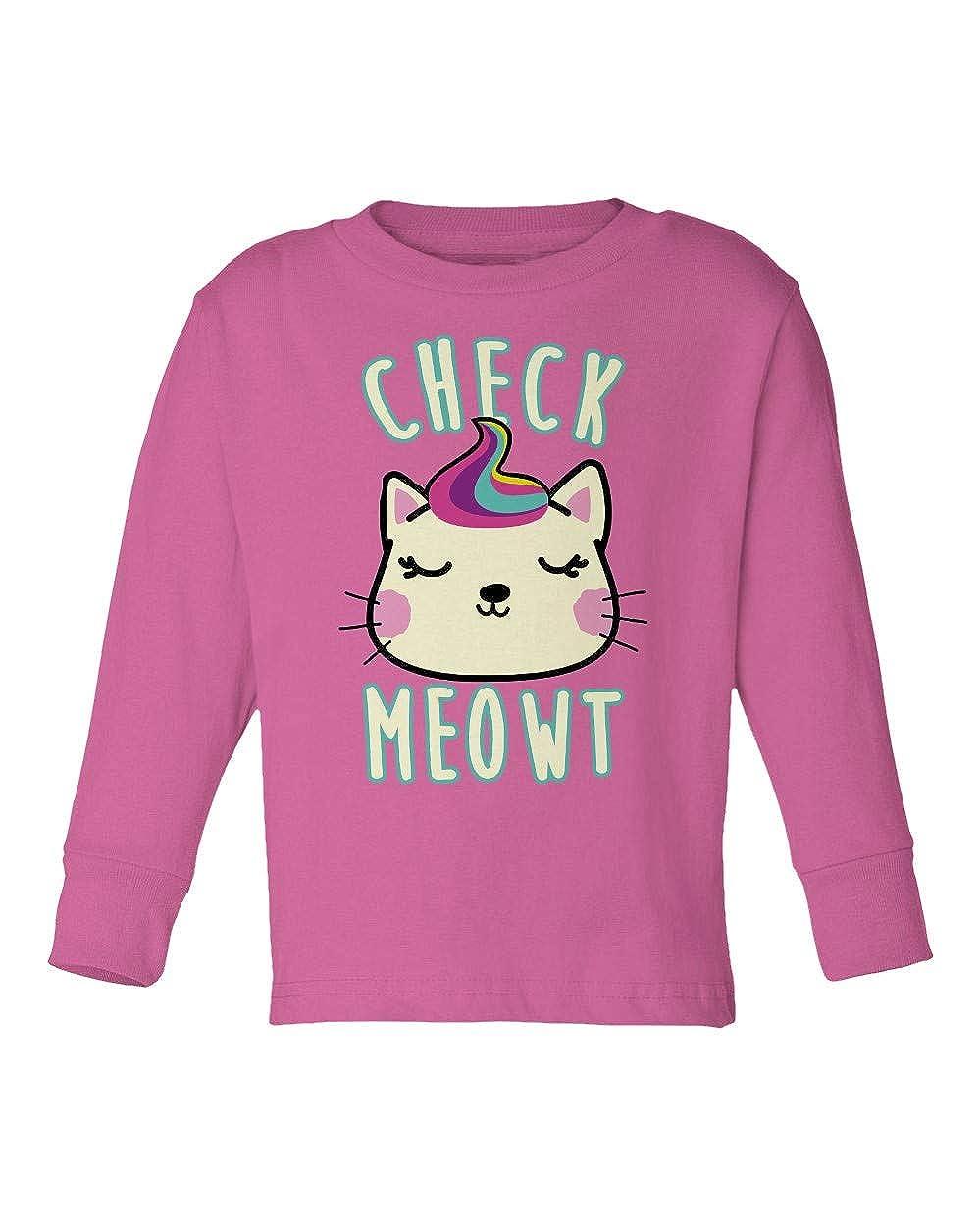 Societee Check Me Out Cute Ironic Check Meowt Cat Kitten Girls Boys Toddler Long Sleeve T-Shirt