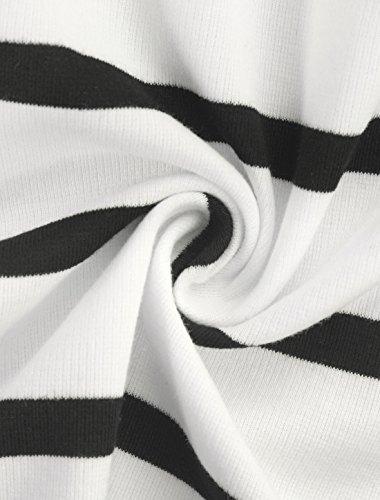 Dame Rayure Épaule ligne A Été K Allegra Mini Black White Robe qZAHEwn6