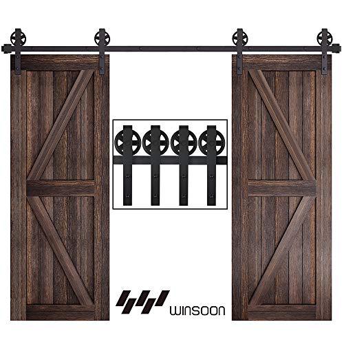WINSOON 9FT Wood Double Sliding Barn Door Hardware Basic Black Big Spoke Wheel Roller Kit,5-18FT for Choose