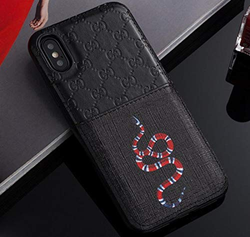 IPhoneX/XS Case - New Elegant Luxury PU Leather Classic Style Protect Cover Case Compatible with iPhoneX iPhoneXS Only(Black Snake)