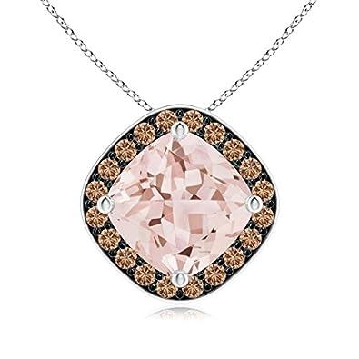 Angara Sideways Cushion Morganite Halo Pendant with Coffee Diamonds Q6pxlXez