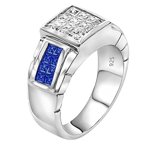 - Sterling Manufacturers Men's Sterling Silver .925 Ring Featuring Invisible Set Look Princess-Cut Blue and Clear Cubic Zirconia (CZ) Stones, Platinum Plated (10)