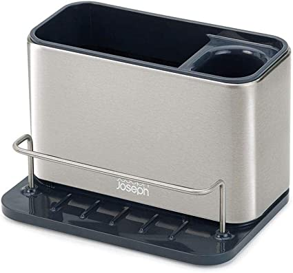 Joseph Joseph 85112 Surface Sink Caddy Stainless Steel Sponge Holder Organizer Tidy Drains Water for Kitchen, Large, Silver
