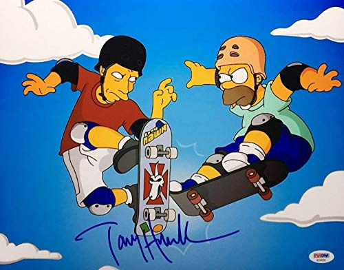 (Tony Hawk Signed 'Simpsons' 11x14 Photo Skateboard *Lords of Dogtown AE94259 - PSA/DNA Certified - Autographed Extreme Sports Photos)