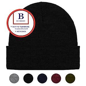 Blueberry Uniforms Black Merino Wool Beanie Hat -Soft Winter and Activewear Watch Cap