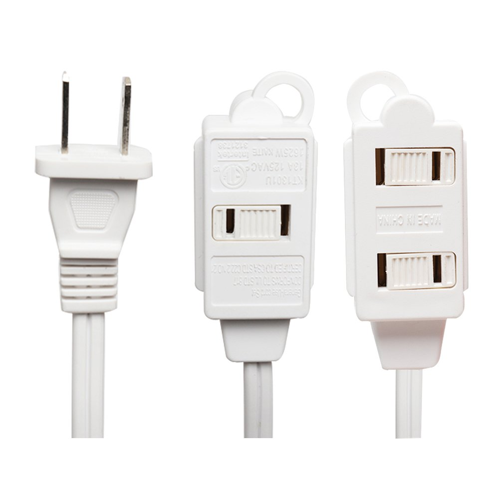 KMC 3-Outlet Power Extension Cord with Tamper Guard, White, 12 Feet (40302-1612A)
