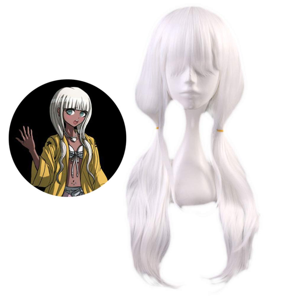 Raleighsee Danganronpa V3 Anime Angie Yonaga Cosplay Horsetail 75cm Curly Wig Pure White Cute Girls Wig Anime Fans Gift by Raleighsee