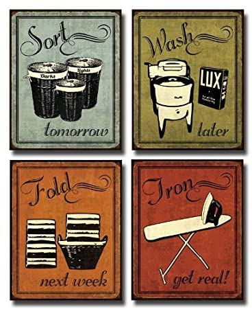 Amazoncom Laundry Set Mini Mini Prints Vintage Signs Art - Laundry room signs