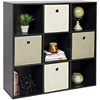 New Black Shelf Bookcase Home Office 9-Cube Organizer Storage
