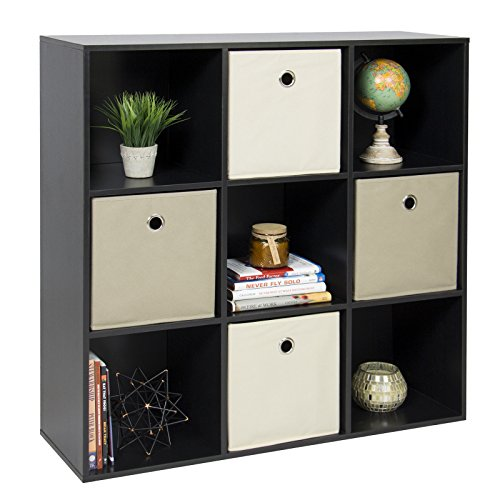 New Black Shelf Bookcase Home Office 9-Cube Organizer Storage (Wood Furniture Yew)