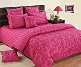 Swayam Printed Cotton Double Bedsheet with 2 Pillow Covers - Magenta