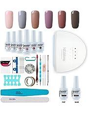 Gel Nail Polish Starter Kit, Speed Curing 48W Professional LED lamp Base Top Coat Set & 6 Colors, Manicure Tools Popular Nail Art Designs by Vishine #C006