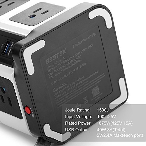 BESTEK USB Power Strip 8-Outlet Surge Protector 1500 Joules with 40W/8A 6 USB Charging Station,ETL Listed,Dorm Room Accessories by BESTEK (Image #6)