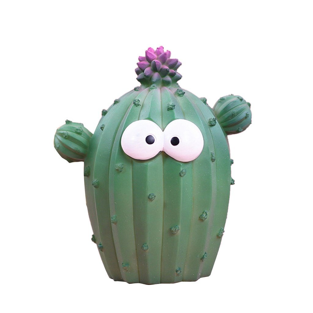 Homyl Cute Cartoon Cactus Money Boxes Funny Plant Resin Piggy Bank Creative Office Desktop Decoration - Dark Green L, as Described