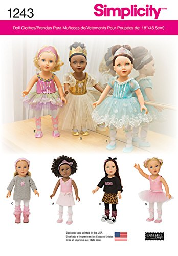 Dance Costume Patterns (Simplicity Creative Patterns 1243 Ballerina and Dance Clothes for 18-Inch Doll, Size: Os One Size)