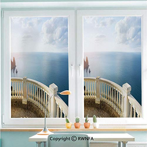 Window Door Sticker Glass Film,Historical Stone Balcony Balustrade Ocean Rocks Horizon Ancient Europe Anti UV Heat Control Privacy Kitchen Curtains for Glass,22.8 x 35.4 inch,Blue White Brown