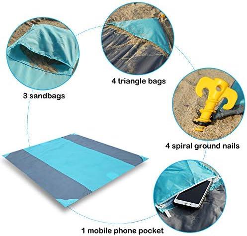 Couverture de Plage en Plein air Randonn/ée Camping Pique-Nique Imperm/éable L/éger Portable 305x274.7cm Fyore Tapis de Plage Serviette de Plage Anti-Sable