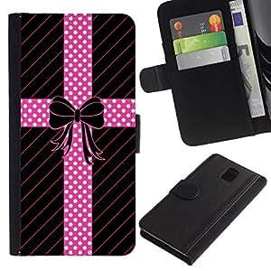 All Phone Most Case / Oferta Especial Cáscara Funda de cuero Monedero Cubierta de proteccion Caso / Wallet Case for Samsung Galaxy Note 3 III // Dot Bow Tie Pattern Lines Gift