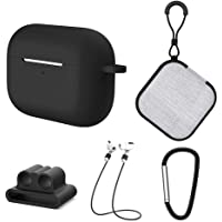 Honorall 5 in1 Protective Case Compatible with Apple AirPods Pro Charging Case Silicone Cover + Watch Band Holder + Anti-lost Straps + Storage Bag + Hook Earphone Protector Accessories