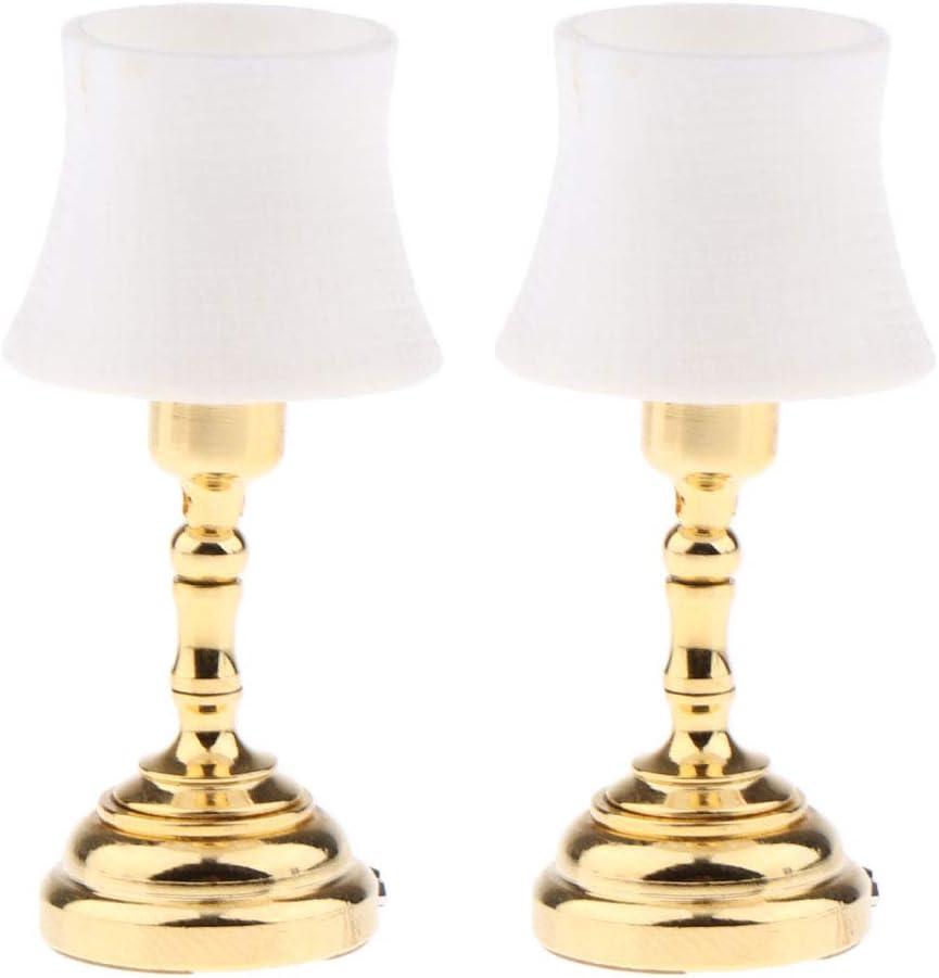 1//12 Dollhouse Decor Miniature Furniture White Lampshade Table Lamp Model