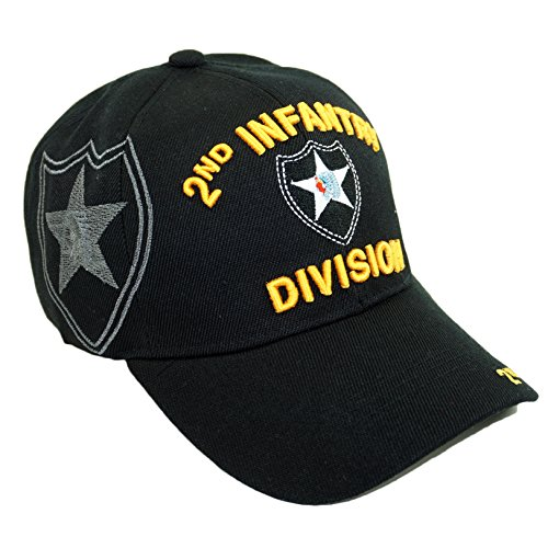 U.S. Military Official Licensed Embroidery Hat Army Navy Veteran Baseball Cap (2ND Infantry Division-Black)