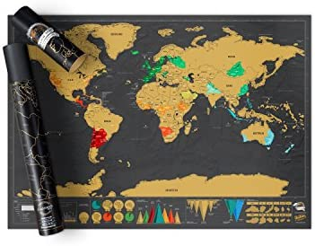 Detailed Map Of The World.Scratch Off Map World Poster Detailed Map Of The World With Capitals States Cities Scratch Map Deluxe