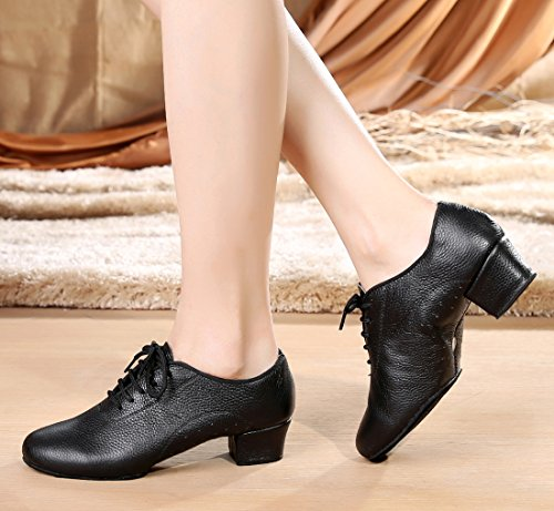 Leather Samba Dance Shoes Rumba up Women's Modern with Lace Black Latin Tango Classic Ballroom Salsa Holes TDA p8I7qxHwf