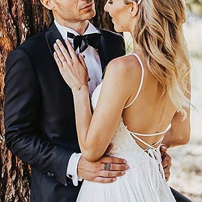 Wedding Dress for Bride 2020, Beach Vintage A Line Backless Boho Lace Summer Wedding Dresses Women Plus Size Wedding Dress at Women's Clothing store