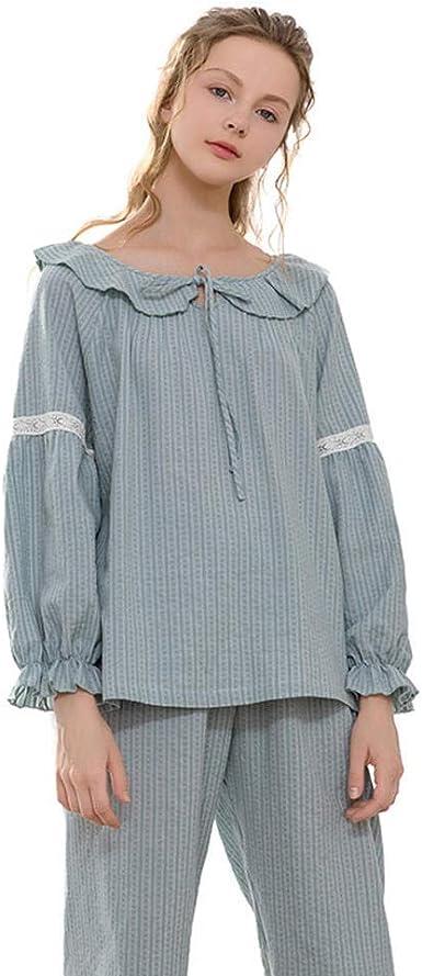 Pijamas de algodón de Manga Larga para Mujer Cuello Vuelto Pijamas sólidos Conjuntos de Pijamas de Primavera Ropa de salón Mujeres Pijama Rosa Sexy: Amazon.es: Ropa y accesorios