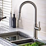 Fapully Classical Style Single Handle Kichen Faucet Brushed Nickel Swivel Spout Kitchen Vessel Taps Made By Solid Brass