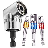 """3 Pieces 1/4"""" 3/8"""" 1/2"""" Cr-V Hex Shank Impact Grade Socket Wrench Adapter Extension Set + 105° Angle Extension 1/4inch 6mm Hex Drill Bit Screwdriver Socket Holder Adaptor Right Angle Drill"""