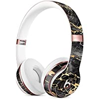 Black and Gold Marble Surface DesignSkinz Full-Body Skin Kit for the Beats by Dre Solo 3 Wireless Headphones / Ultra-Thin / Matte Finished / Protective Skin Wrap