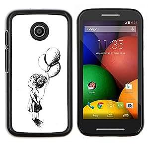 Caucho caso de Shell duro de la cubierta de accesorios de protección BY RAYDREAMMM - Motorola Moto E - Chica Madre Tinta Negro Blanco