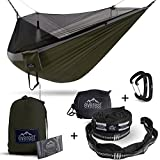 Everest Double Camping Hammock with Mosquito Net | Bug-Free Camping, Backpacking & Survival Outdoor Hammock Tent | Reversible, Integrated, Lightweight, Ripstop Nylon | Gray/Green/Net Black