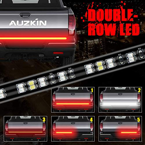 AUZKIN 60' Tailgate Light Bar Double-Row LED Light Strip Brake Running Turn Signal Reverse Tail Lights for Trucks Trailer Pickup Car RV Van Jeep Towing Vehicle,Red/White,No-Drill,1 Year Warranty