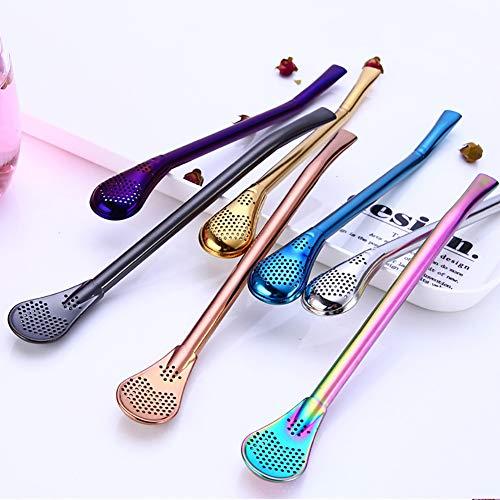 JYS365 Bright Color Bar Reusable Stainless Steel Tea Drinking Straws Stirring Rod Spoon Filter Bombilla Golden ()