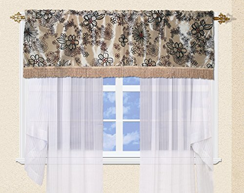 (Violet Linen Silky Bloom Window Valance, Beige)