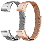 Oitom For Fitbit Alta HR Accessory Bands and For Fitbit Alta Band,New Fashion Stainless Steel Milanese Loop Wristband (2 Pack Silver+Rose Gold, Small 5.1''-6.7'')