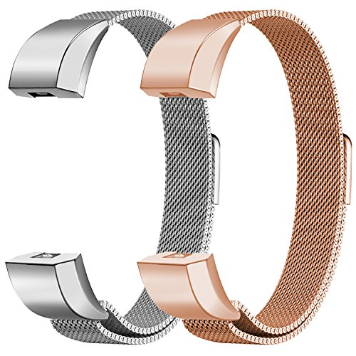 Oitom Fitbit Alta HR Accessory Bands and Fitbit Alta Band,New Fashion Stainless Steel Milanese Loop Wristband (2 Pack Silver+Rose Gold, Small - Metal New Steel