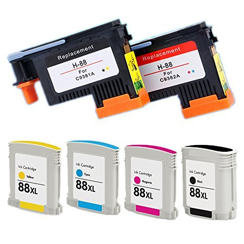 - RIGHTINK 88 Printhead Black/Yellow, Cyan/Magenta (C9381A C9382A) And Ink Cartridges (4Pack) Combo Replacement For HP 88 88XL
