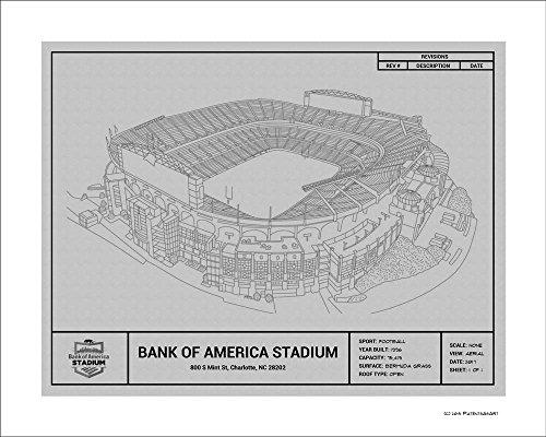Carolina Panthers Bank of America Stadium Blueprint Art Gift