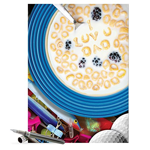 J7226 Jumbo Funny Fathers Day Card  I Luv U Dad Cereal With Envelope  Extra Large Version  8 5 X 11