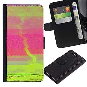 Planetar® Modelo colorido cuero carpeta tirón caso cubierta piel Holster Funda protección Para Sony Xperia Z3 Compact /D5803 / D5833 ( Sunset Green Tornado Pink Sea Abstract )