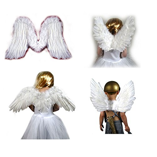 SACASUSA (TM) New Feather White Fairy Angel Wings For 5 6 7 8 9 Years Old Kids