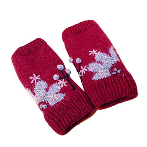 伸縮性レディース冬ニット手袋/暖かい手袋
