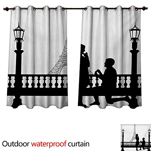 WilliamsDecor Engagement Party Outdoor Ultraviolet Protective Curtains Paris Love Valentines City Wedding Proposal Future Happiness Image W96 x L72(245cm x 183cm)]()